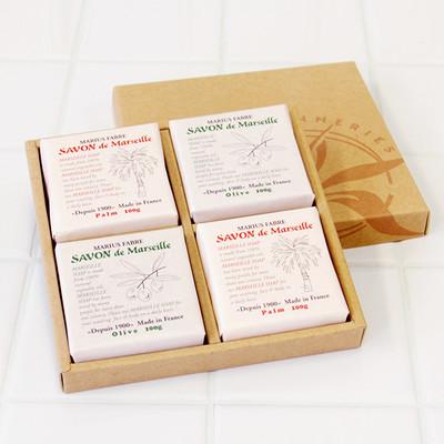 マルセイユ石鹸「サボンドマルセイユ(マリウスファーブル)」無香料ギフトセット100g×4個